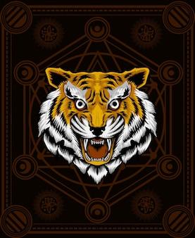 Cabeça de tigre zangado com geometria sagrada