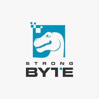 Cabeça de tiranossauro simples logotipo da internet