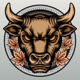 Cabeça de touro chinês desenhada à mão