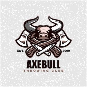 Cabeça de touro com machados e facas, logotipo do clube de arremesso.