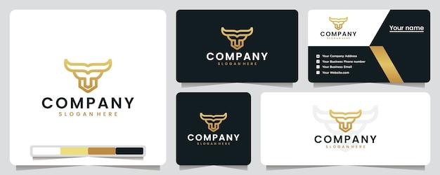 Cabeça de touro, dourada, arte de linha, inspiração para o design de logotipo