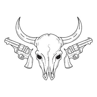 Cabeça de touro e pistolas