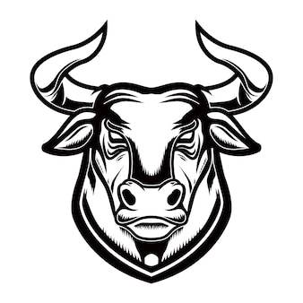 Cabeça de touro em estilo de gravura.