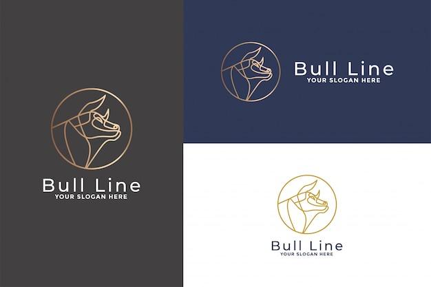 Cabeça de touro linha mono logotipo