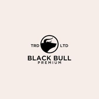 Cabeça de touro premium no design do logotipo do círculo