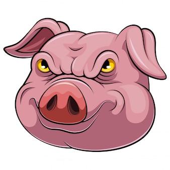 Cabeça, de, um, caricatura porco