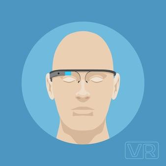 Cabeça de um homem com óculos de realidade aumentada