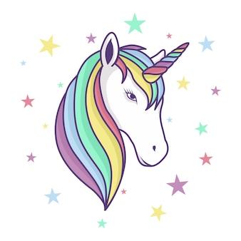 Cabeça de unicórnio colorido com chifre de arco-íris e estrelas de fundo