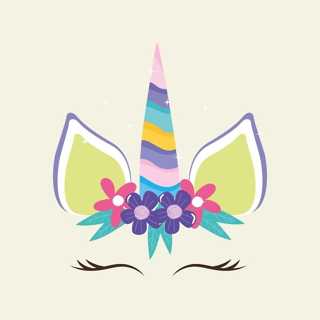 Cabeça de unicórnio fofa com flor