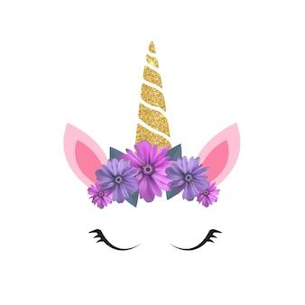 Cabeça de unicórnio fofa e olhos com flor.