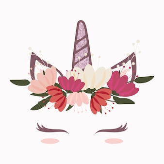 Cabeça de unicórnio fofo com coroa de flor bonita