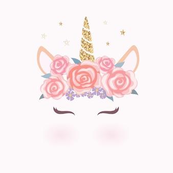 Cabeça de unicórnio fofo com coroa de flores.