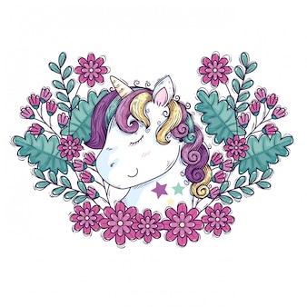 Cabeça de unicórnio fofo com decoração de flores