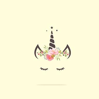 Cabeça de unicórnio fofo com flor