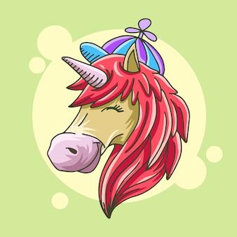 Cabeça de unicórnio fofo feliz com ilustração de mão desenhada chapéu colorido