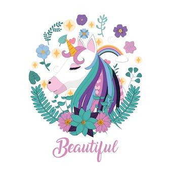 Cabeça de unicórnio linda com design gráfico ilustração vetorial de flores