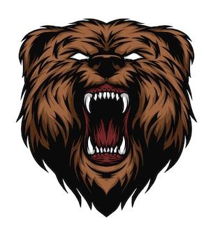 Cabeça de urso bravo com olhos brancos