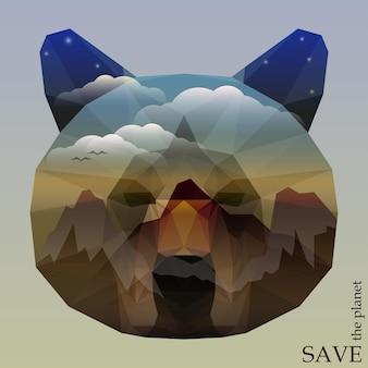 Cabeça de urso com montanhas e céu azul profundo com nuvens e estrelas. ilustração do conceito sobre o tema da proteção da natureza e dos animais para cartão de design, convite, cartaz, cartaz ou banner