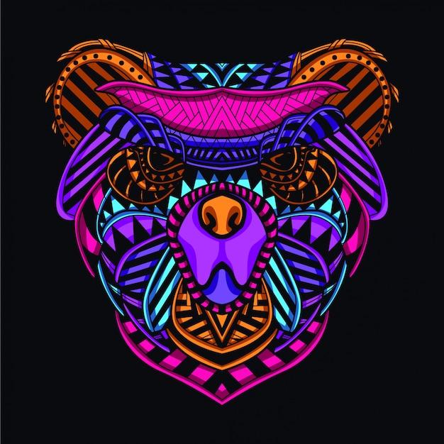 Cabeça de urso decorativo da cor de néon de brilho