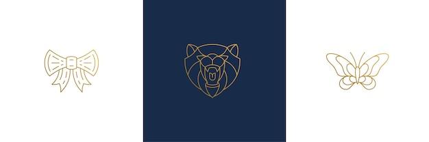 Cabeça de urso e ilustrações de borboleta estilo linear mínimo