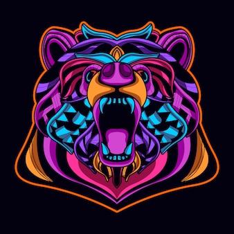 Cabeça de urso em estilo de arte de néon cor