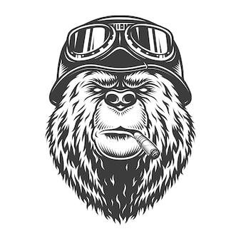Cabeça de urso motociclista monocromático vintage