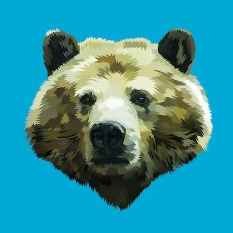 Cabeça de urso na arte pop geométrica