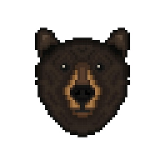 Cabeça de urso no estilo pixel art