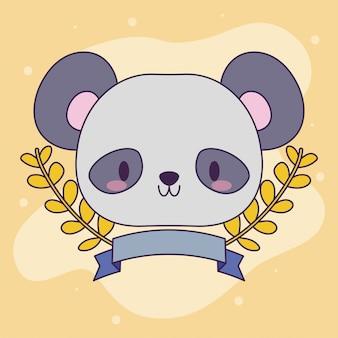 Cabeça de urso panda bebê kawaii com decoração