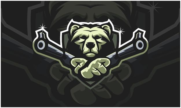 Cabeça de urso segurando duas armas,