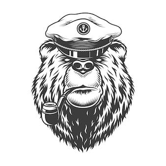 Cabeça de urso vintage capitão mar monocromático