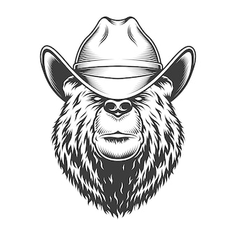 Cabeça de urso vintage no chapéu de cowboy