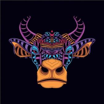 Cabeça de vaca decorativa na cor neon de brilho