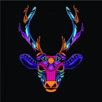 Cabeça de veado decorativa da cor neon