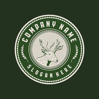 Cabeça de veado emblema círculo vintage logotipo