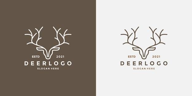 Cabeça de veado linha arte logo design estilo retro