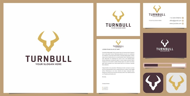 Cabeça de veado ou logotipo turnbull com cartão de visita