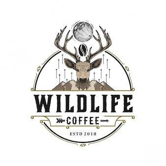 Cabeça de veado para vintage de logotipo de vida selvagem