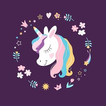 Cabeça de vetor de unicórnio branco com olho grande e um conjunto de flores, coroas, estrelas, corações em background escuro