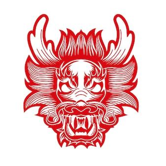 Cabeça de vetor gráfico de dragão chinês