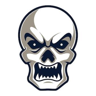 Cabeça de zumbi assustador com raiva, ilustração em vetor logotipo mascote esports