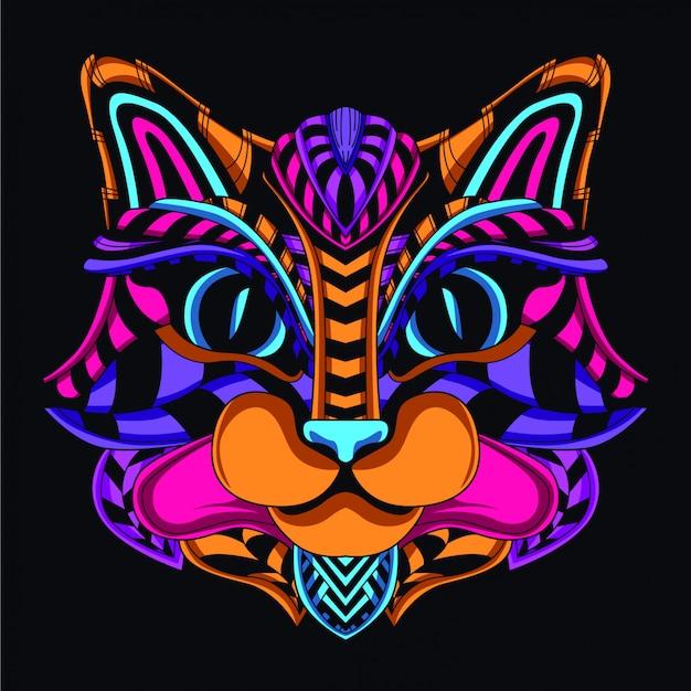 Cabeça decorativa do gato da cor de néon do fulgor