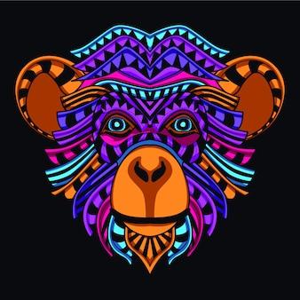 Cabeça decorativa do macaco na cor de néon do fulgor