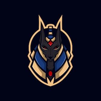 Cabeça deus gato logotipo de mascote anubis