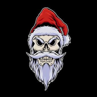 Cabeça do crânio do papai noel usando ilustração de chapéu de natal