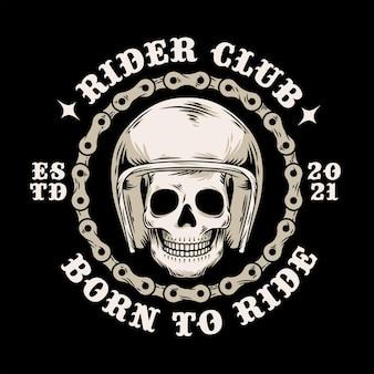 Cabeça do crânio no capacete com ilustração do estilo vintage da corrente do círculo da motocicleta
