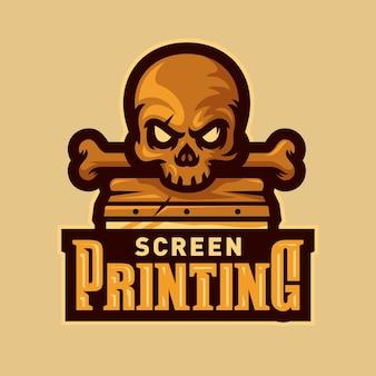 Cabeça do crânio tela impressão esports logotipo mascote vector illustration