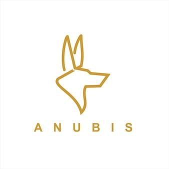 Cabeça do logotipo da anubis vetor arte de linha simples