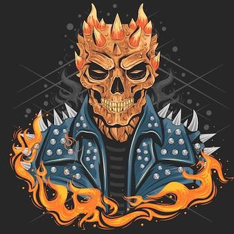 Cabeça do punho do crânio com jaqueta e fogo