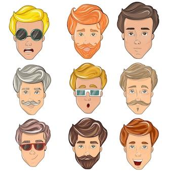 Cabeça do rosto masculino do homem. conjunto de diferentes emoções do personagem masculino